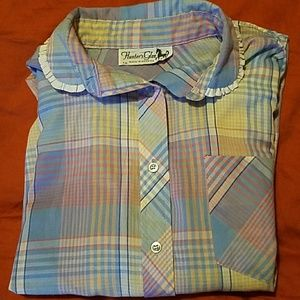 Vintage Plaid Western Blue Pink Button Front Shirt